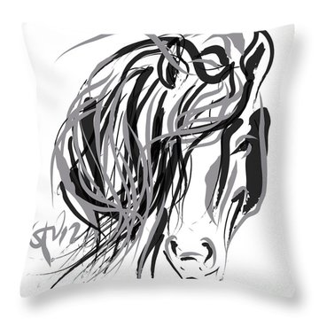 Throw Pillow featuring the painting Horse- Hair And Horse by Go Van Kampen