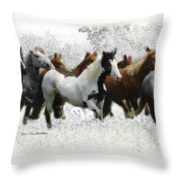 Horse Herd #3 Throw Pillow