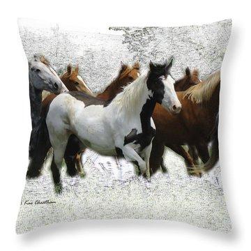 Horse Herd #3 Throw Pillow