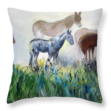 Horses In The Fog Throw Pillow
