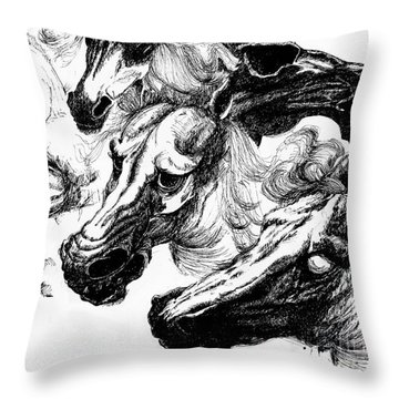 Horse Ink Drawing  Throw Pillow