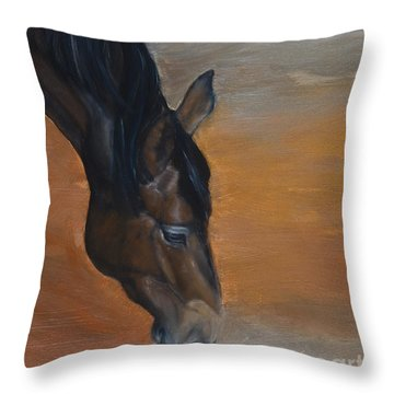 Throw Pillow featuring the painting horse - Lily by Go Van Kampen