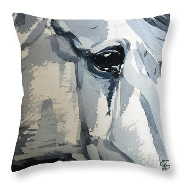 Throw Pillow featuring the painting Horse Look Closer by Go Van Kampen
