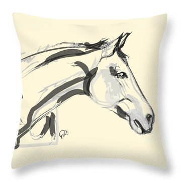 Horse - Lovely Throw Pillow by Go Van Kampen