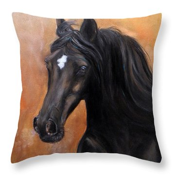 Throw Pillow featuring the painting Horse - Lucky Star by Go Van Kampen