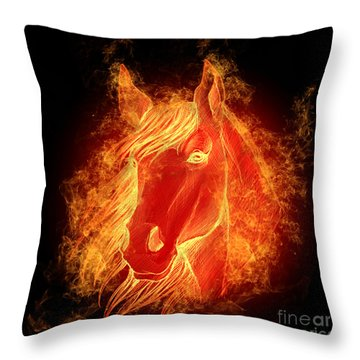 Horse On Fire  Throw Pillow