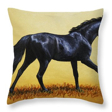 Horse Painting - Black Beauty Throw Pillow