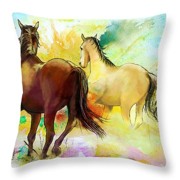 Horse Paintings 009 Throw Pillow by Catf