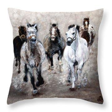 Horse Paintings Horse Art Equine Art Storm's Comin' Throw Pillow by Robert Lafaye