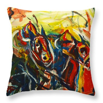 Throw Pillow featuring the painting Horse Pasta by John Jr Gholson