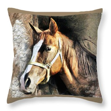 Horse Portrait - Drawing Throw Pillow