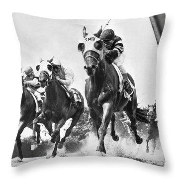 Horse Racing At Belmont Park Throw Pillow