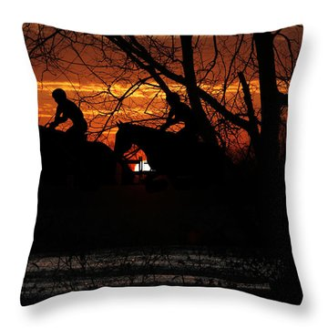 Horse Racing At Sun Downs - Featured In Comfortable Art And Nature Wildlife Groups Throw Pillow by EricaMaxine  Price