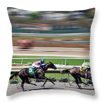 Throw Pillow featuring the photograph Horse Racing by Christine Till