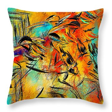 Horse Racing Colorful Abstract  Throw Pillow