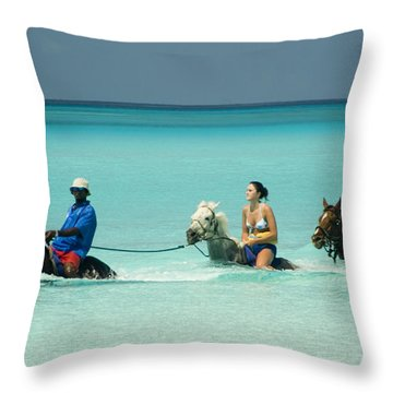 Horse Riders In The Surf Throw Pillow by David Smith