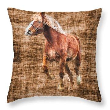 Horse Running Throw Pillow by Dan Friend