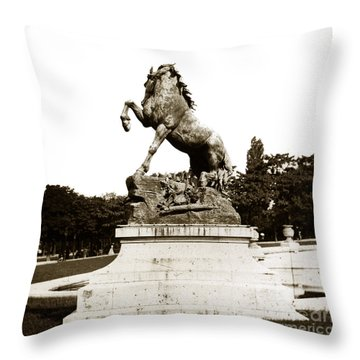 Throw Pillow featuring the photograph Horse Sculpture Trocadero  Paris France 1900 Historical Photos by California Views Mr Pat Hathaway Archives