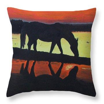 Horse Shadows Throw Pillow by Mark Fluharty
