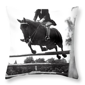 Horse Show Jump Throw Pillow
