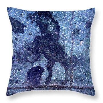 Horse Smashing Evil On Skid Row Throw Pillow