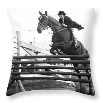 Horse Taking Jump Throw Pillow