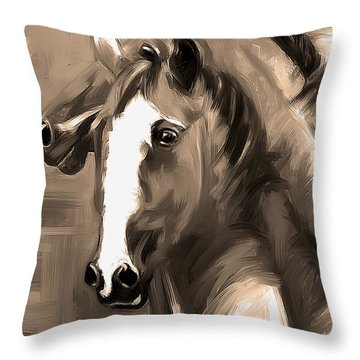 Horse Together 1 Sepia Throw Pillow by Go Van Kampen