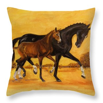 Horse - Together 2 Throw Pillow by Go Van Kampen