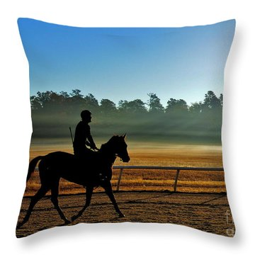 Horse Training At The Winter Colony Throw Pillow