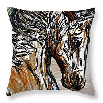 Horse Twins I Throw Pillow