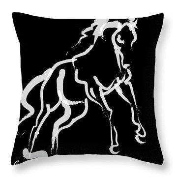 Horse White Runner Throw Pillow by Go Van Kampen
