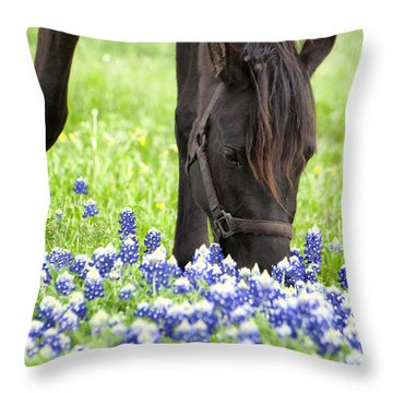 Horse With Bluebonnets Throw Pillow