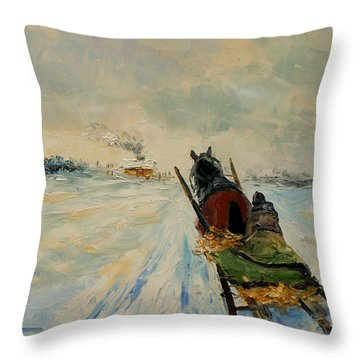 Horse With Sleigh Throw Pillow