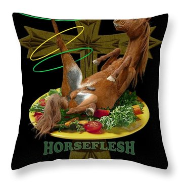 Horseflesh Throw Pillow
