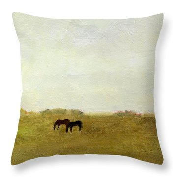 Horses Afield Throw Pillow