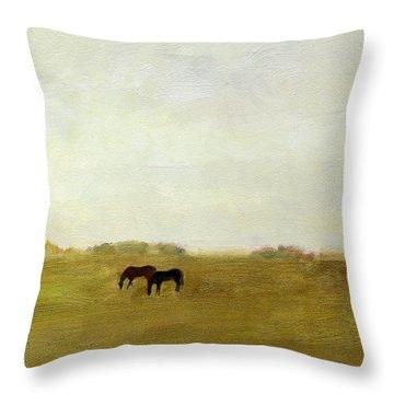 Horses Afield Throw Pillow