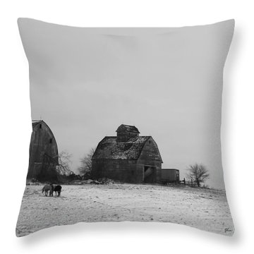 Horses And Barns  Throw Pillow