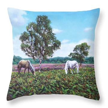 Throw Pillow featuring the painting Horses And Heather In The New Forest by Martin Davey