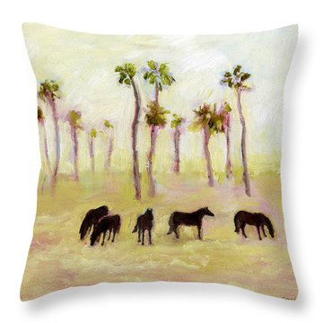 Horses And Palm Trees Throw Pillow