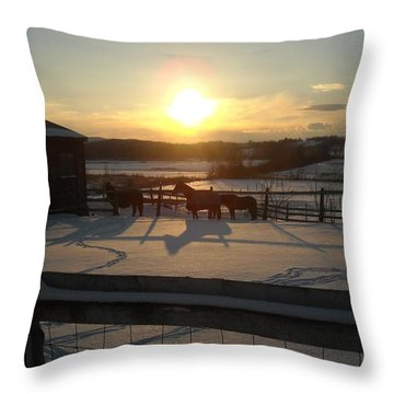 horses at Sunset in the Snow Throw Pillow