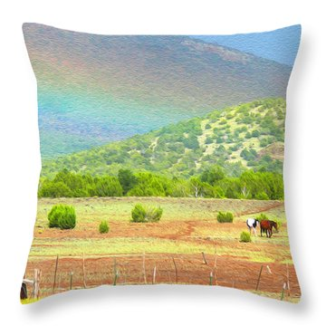 Horses At The End Of The Rainbow Throw Pillow
