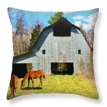 Horses Call This Old Barn Home Throw Pillow by Sandi OReilly