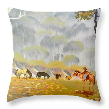 Horses Drinking In The Early Morning Mist Throw Pillow
