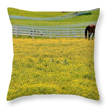 Horses Grazing In Field Throw Pillow