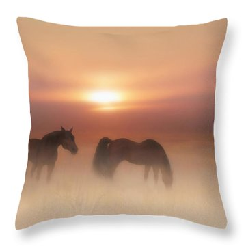 Horses In A Misty Dawn Throw Pillow
