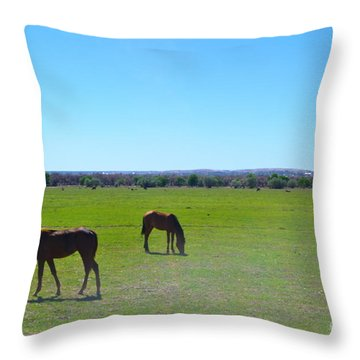 Horses In New Mexico Throw Pillow