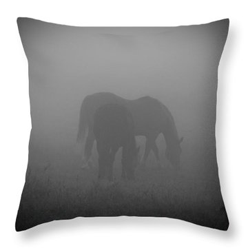 Throw Pillow featuring the photograph Horses In The Mist. by Cheryl Baxter