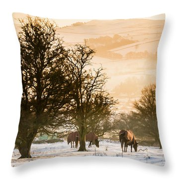 Horses In The Snow Throw Pillow