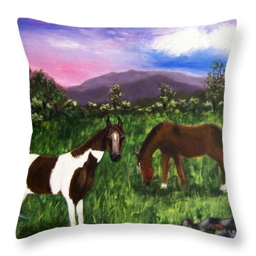 Throw Pillow featuring the painting Horses by Jamie Frier
