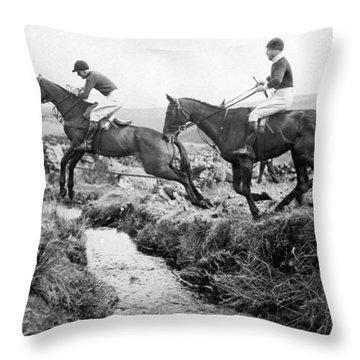 Horses Jumping A Creek Throw Pillow